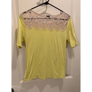 Ann Taylor lace neck t-shirt